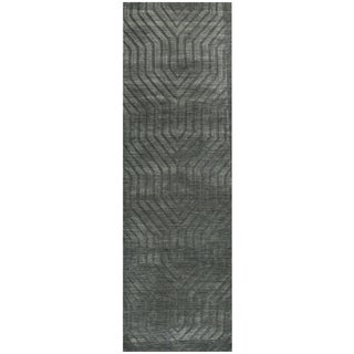 Hand-loomed Technique Grey/ Charcoal Wool Solid Runner Area Rug (2'6 x 8')