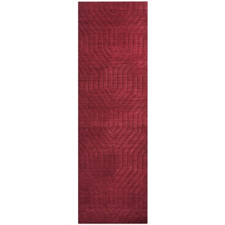 Hand-loomed Technique Red Wool Solid Runner Area Rug (2'6 x 8')