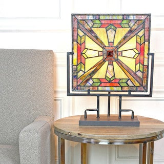 River of Goods Stained Glass Square Panel Mission Style Table Lamp