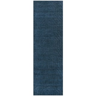 Hand-loomed Technique Navy Wool Solid Runner Area Rug (2'6 x 8')