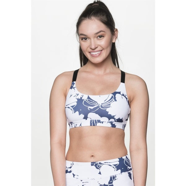 7b04bb210714f Shop TheFreeYoga Women s Blue and White Printed Sports Bra - Free ...