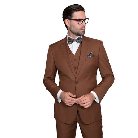 Statement Suits Men's Wool Solid Color 3-piece Suit