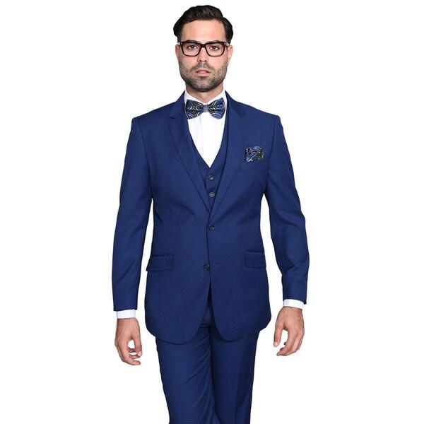 Shop Statement Suits Men\u0027s Wool Solid Color 3,piece Suit