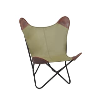 Olive and Brown Leather Butterfly Chair