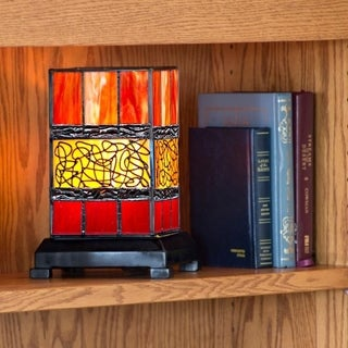 """9.63""""H Craftsman Style Stained Glass Hurricane Uplight Table Lamp with Filigree Detail - Red"""