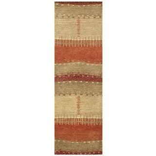 Hand-tufted Mojave Maroon Wool Abstract Runner Rug (2'6 x 8')