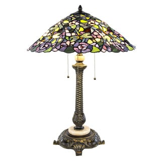 Tiffany-style Purple Stained Glass 26.75-inch High Pansy Table Lamp