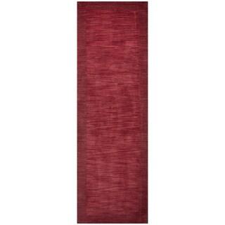 Hand-loomed Platoon Red Wool Boarder Runner Area Rug (2'6 x 8')