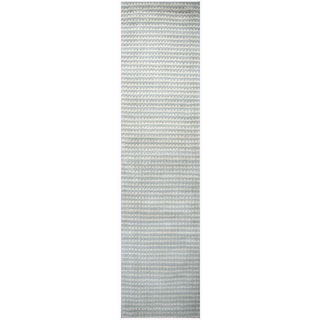 Hand-loomed Platoon Blue Grey Wool Checker Runner Area Rug (2'6 x 8')