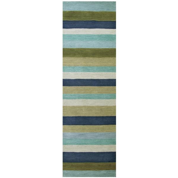 Hand-Loomed Platoon Wool Stripe Runner Rug (2'6 x 8')