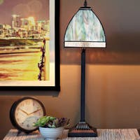 Blue 25.25-inch-high Stained Glass Bent Panel Ocean Table Lamp
