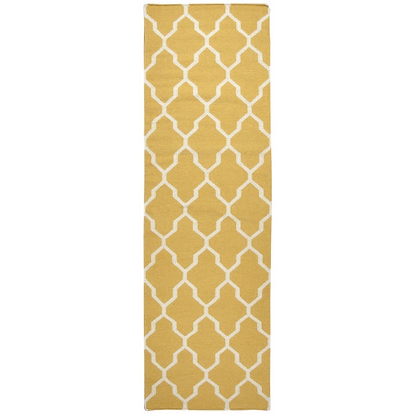 Hand-woven Swing Yellow/ Gold Wool Trellis Runner Area Rug (2'6 x 8')