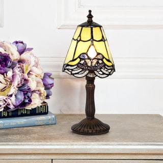 Green 12.25-inch-high Tiffany-style Crystal Lace Mini Accent Table Lamp