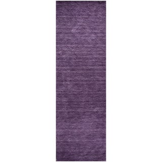 Hand-loomed Technique Purple Wool Solid Runner Area Rug (2'6 x 8')
