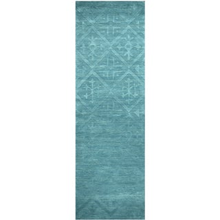 Hand-loomed Technique Blue/ Aqua Wool Solid Runner Area Rug (2'6 x 8')