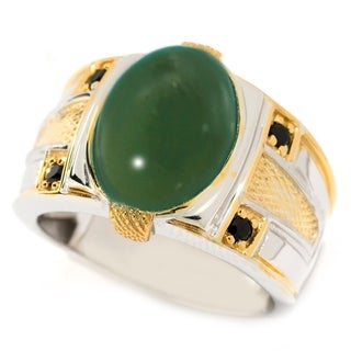 Michael Valitutti Palladium Silver Men's Green Chalcedony and Black Spinel Band Ring
