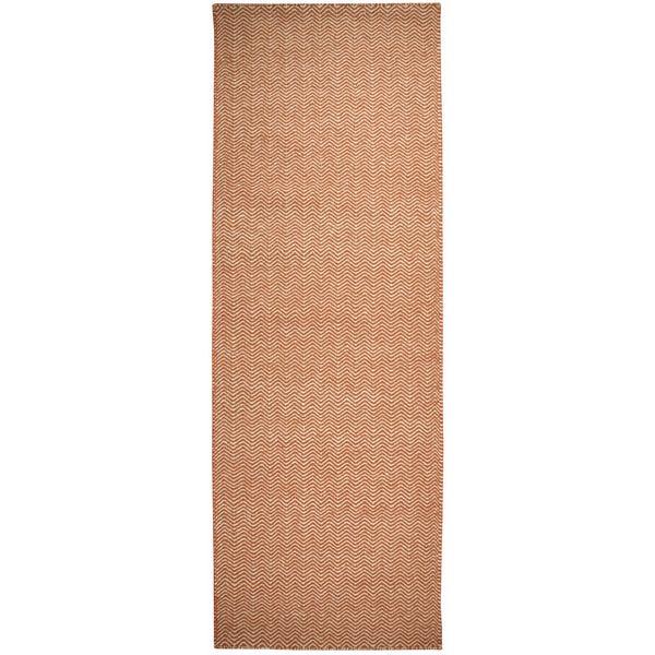 Hand-woven Twist Orange Wool Chevron Runner Rug (2'6 x 8')