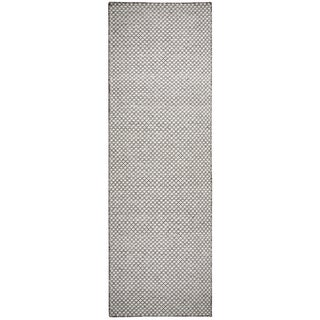 Hand-woven Twist Grey Wool Print Runner Area Rug (2'6 x 8')
