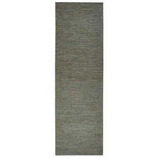 Hand-woven Whittier Blue Jute Solid Runner Area Rug (2'6 x 8')