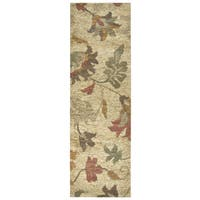 Hand-woven Whittier Natural Jute Floral Runner Rug (2'6 x 8')