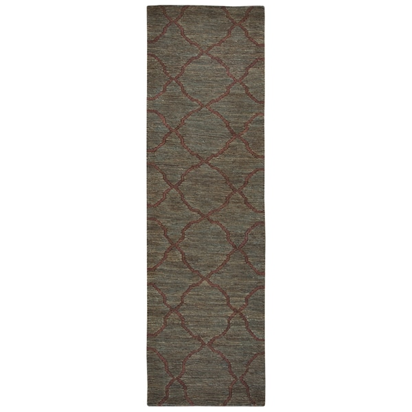 Hand-woven Whittier Dark Taupe Jute Trellis Runner Area Rug (2'6 x 8')