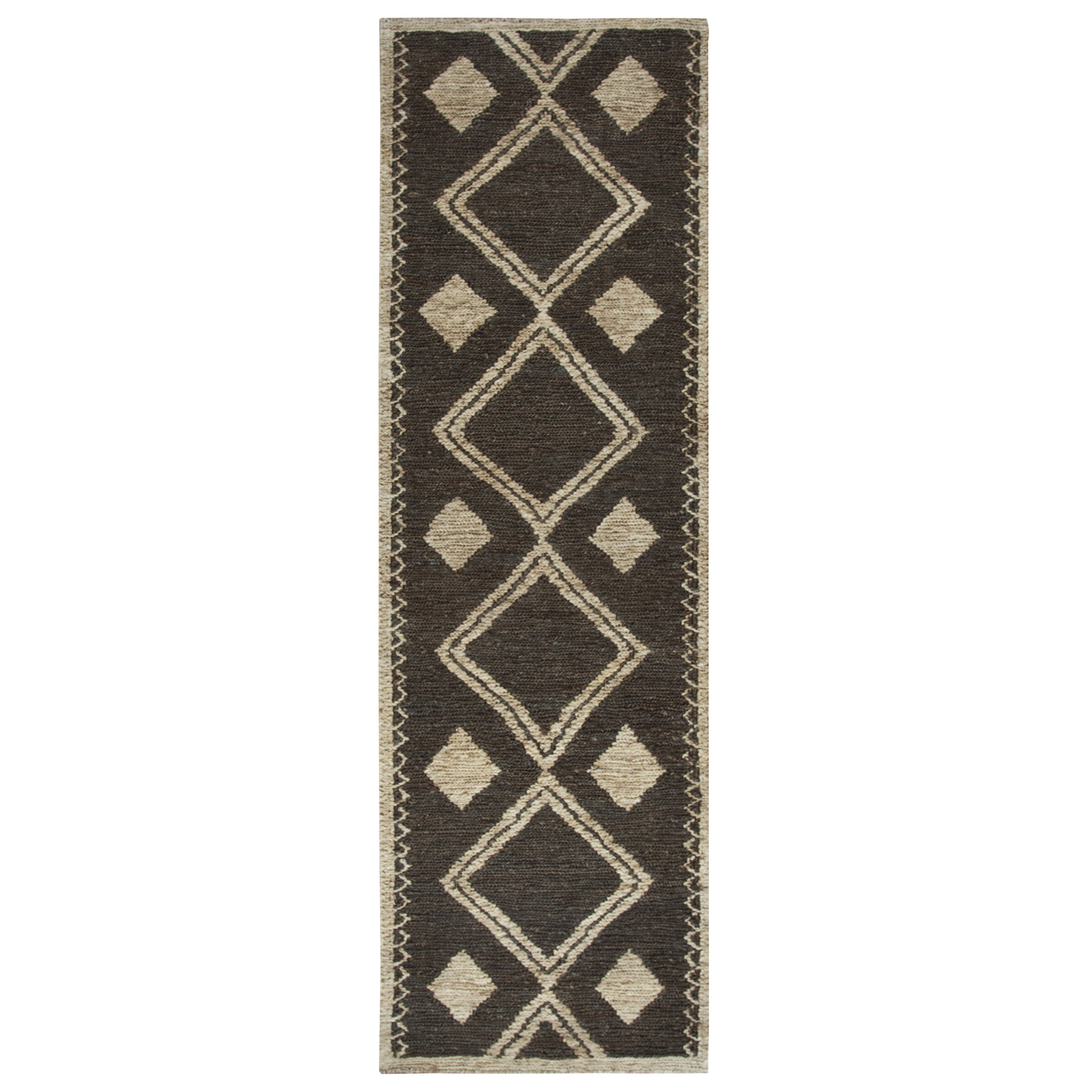 Hand-woven Whittier Brown Jute Geometric Runner Area Rug (26 x 8) - 26 x 8 (26 x 8 - Brown)