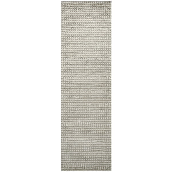 Hand-loomed Platoon Grey Wool Checker Runner Area Rug (2'6 x 8')