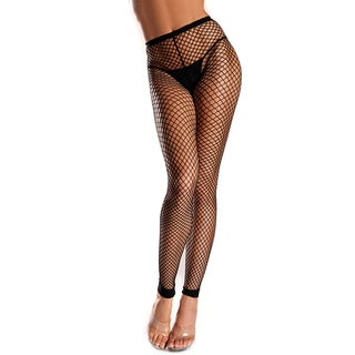 Be Wicked Women's Black Spandex and Nylon Net Footless Tights
