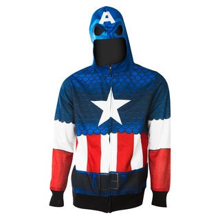 Men's Captain America Blue Full Zip Costume Hoodie