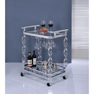 Furniture of America Dana Contemporary Swirled Acrylic 2-shelf Chrome Serving Cart