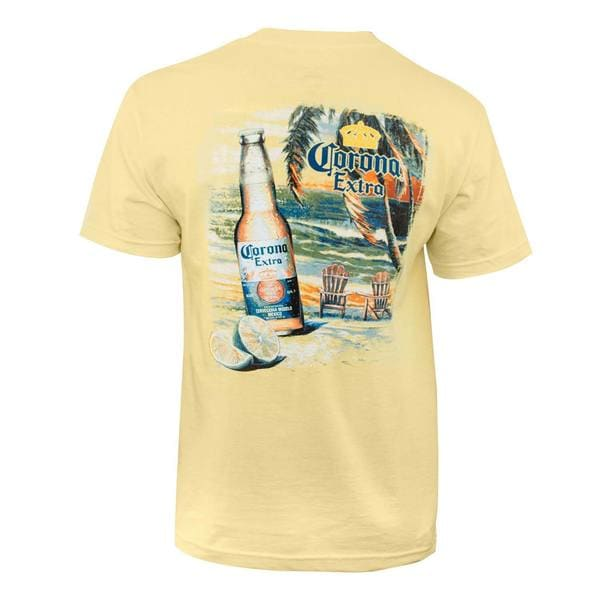Mens Yellow Cotton Corona Extra Beach Scene Tee Shirt by  Today Sale Only