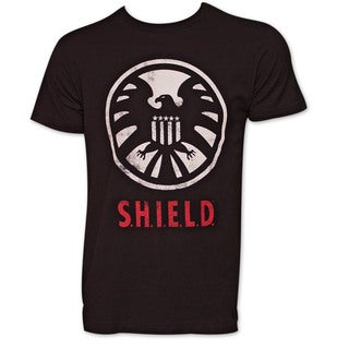 Avengers Shield Logo Black Cotton T-shirt