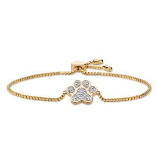 Yellow Goldplated Diamond Accent Paw Print Bracelet