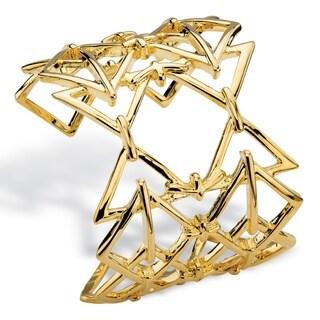 Goldtone 6-inch Open Triangle Link Geometric Cuff Bracelet