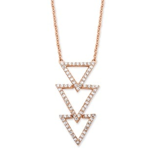 Rose Gold over Silver 5/8ct TGW Cubic Zirconia Triple Triangle Necklace