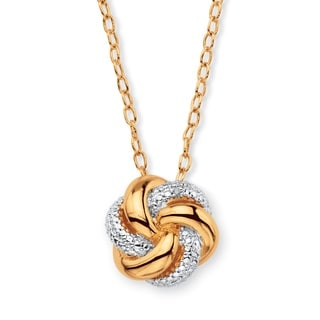Goldplated White Diamond Accent Two-Tone Beaded Pave Love Knot Pendant