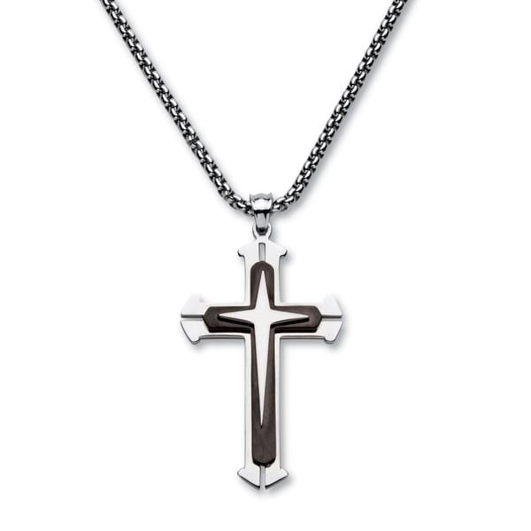 1b5a096649bf Black-plated Stainless Steel Men  x27 s Triple Layer Cross Pendant Necklace