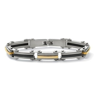 Ion-plated Stainless Steel Men's Tri-color Elongated-link Bracelet