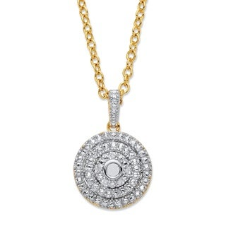 Goldplated Round White Diamond Accent Pave Concentric Circle Cluster Necklace