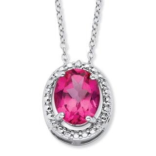 Sterling Silver 3 1/2ct TGW Oval Pink Topaz and Diamond Accent Halo Necklace