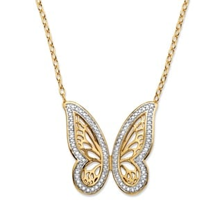 Yellow Goldplated Diamond Accent Pave Two-Tone Butterfly Pendant