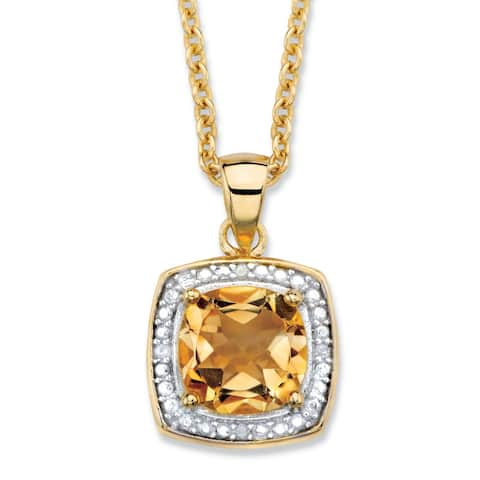 14k Yellow Gold 1 7/8ct TGW Cushion-cut Yellow Citrine and Diamond Accent Halo Necklace