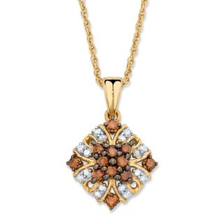 14k Two-tone Gold 1/3ct TDW Red and White Diamond Vintage-inspired Pendant Necklace