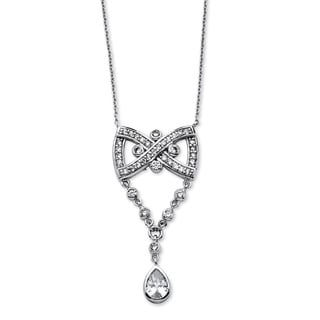 Platinum-plated 1 1/2ct TGW Pear Cubic Zirconia Vintage Bow Tie Necklace