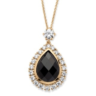 14k Yellow Goldplated  13 7/8ct TGW Black Checkerboard-cut Cubic Zirconia Halo Necklace