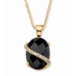 Goldplated 1/5Ct TGW Oval Black Onyx and Pave Cubic Zirconia Accent Necklace