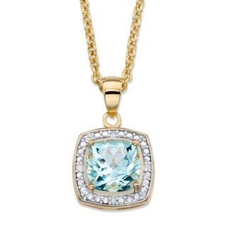 14k Gold over Silver 2 5/8ct TGW Cushion-cut Sky Blue Topaz and Diamond Accent Necklace
