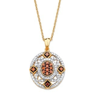 14k Yellow Gold 1/3ct TDW Red and White Diamond Vintage-inspired Pendant