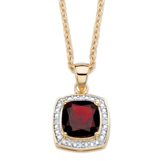 14k Gold 2 1/5ct TGW Cushion-cut Red Garnet and Diamond Accent Pave Halo Necklace