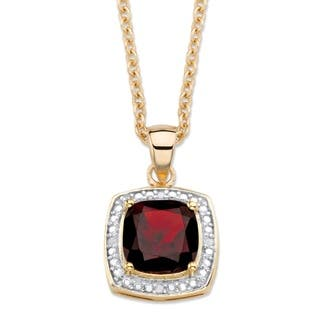 14k Gold 2 1/5ct TGW Cushion-cut Red Garnet and Diamond Accent Pave Halo Necklace|https://ak1.ostkcdn.com/images/products/14682298/P21216073.jpg?impolicy=medium